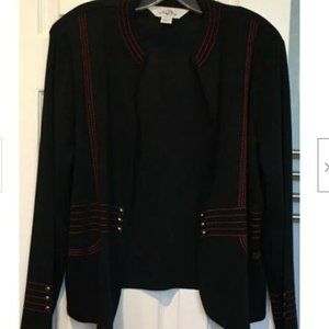 Ming Wang Open Front Black Red Cardigan Jacket